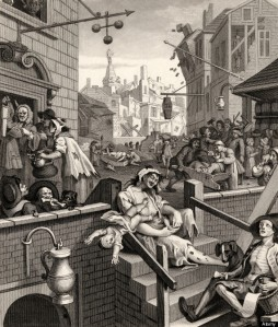 Beer Street and Gin Lane Gin Lane From the original design by Hogarth from The Works of Hogarth published London 1833